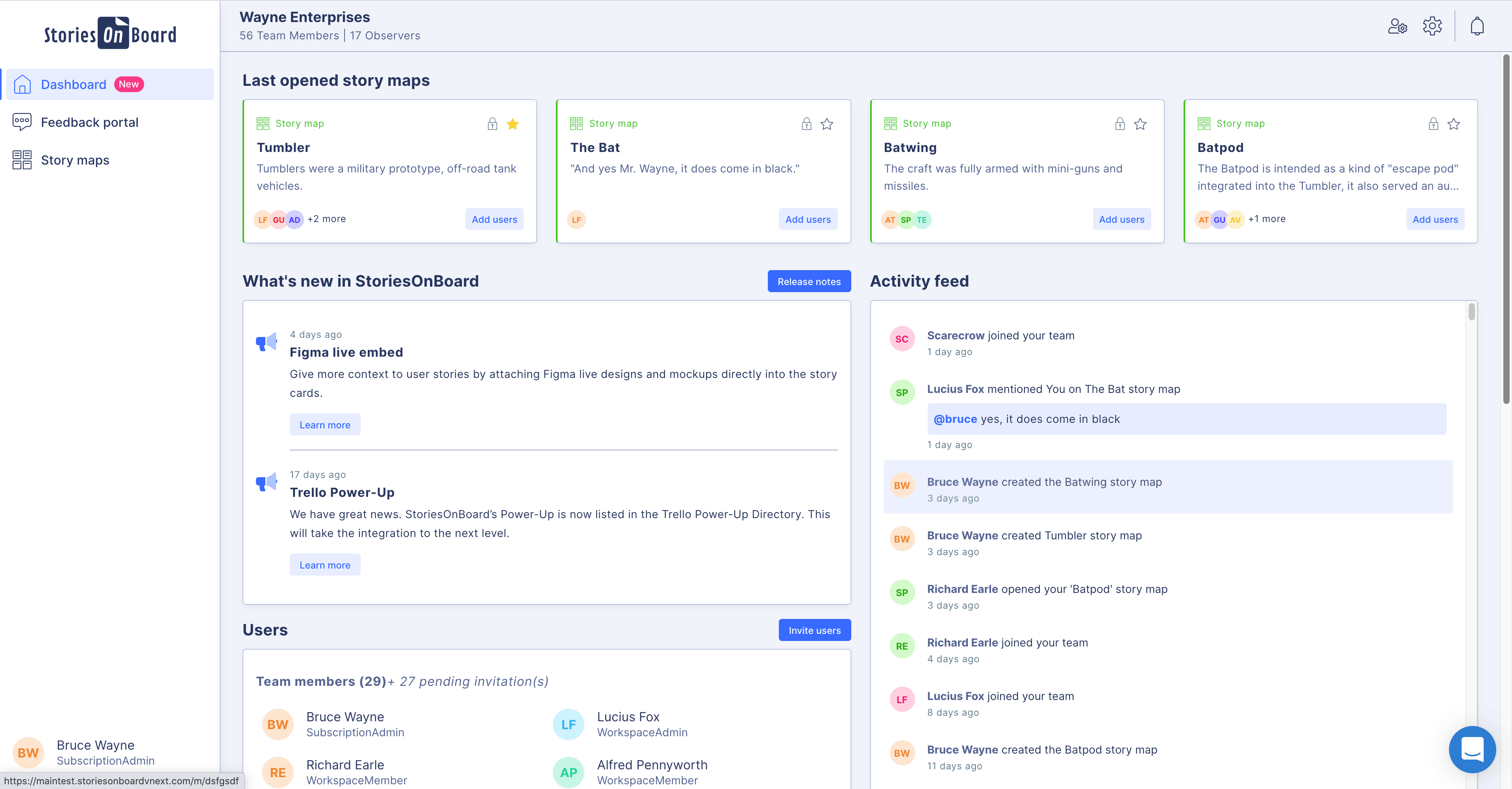 user story mapping tool dashboard