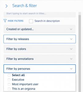 user persona filtering