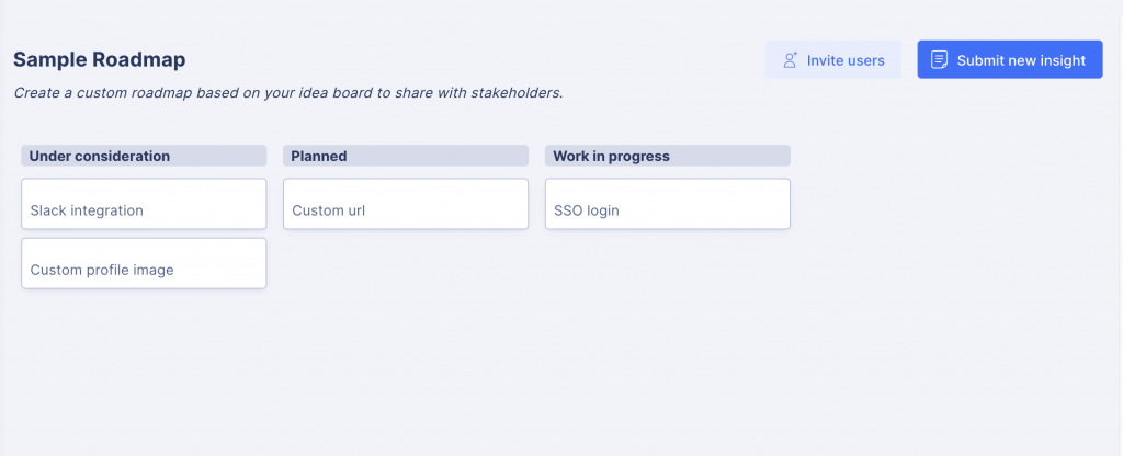 Public roadmap in StoriesOnBoard for the validation agile product discovery phase
